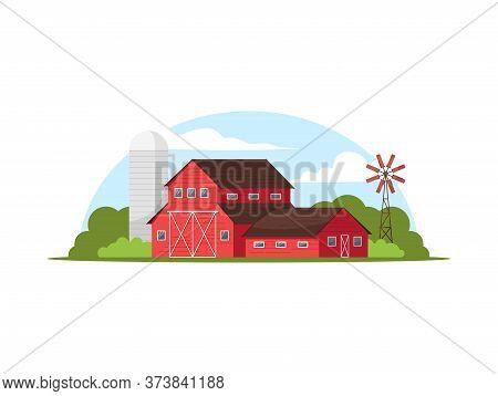 Classic Red Farmhouse Semi Flat Vector Illustration. Silo Tower Beside Willa. Windmill On Countrysid