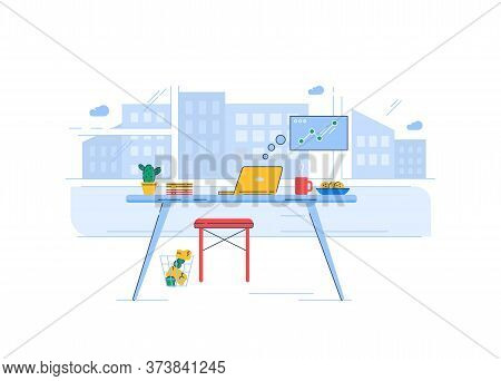 Home Office Semi Flat Rgb Color Vector Illustration. Laptop On Table With Snacks Isolated Cartoon Ob