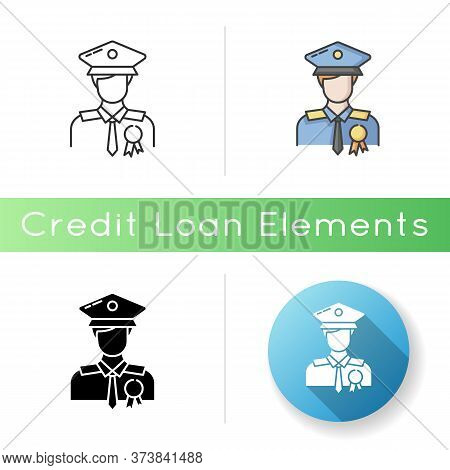 Police Officer Icon. Military Patrol. Male Guard. Security Man In Uniform. Deputy Officer. Captain I