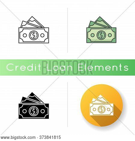 Dollar Banknotes Icon. Salary Payout. Pile Of Money. Financial Operation. Business Investment. Wealt