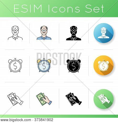 Pesion Fund Icons Set. Middle Age Businessman. Pesion Budget. Retirement Fund. Money Handout For Eld