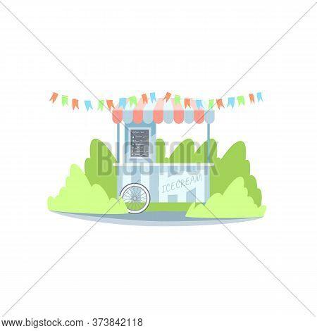 Ice Cream Booth Semi Flat Rgb Color Vector Illustration. Summer Fair Kiosk With Delicious Icecream I