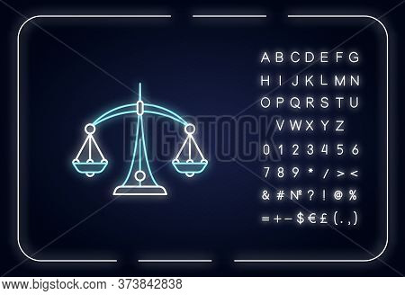 Libra Zodiac Sign Neon Light Icon. Outer Glowing Effect. Judicial System, Equilibrium, Horoscope Sca