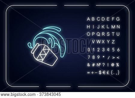 Aquarius Zodiac Sign Neon Light Icon. Outer Glowing Effect. Astrology, Horoscope Water Bearer Sign W