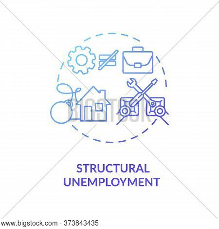 Structural Unemployment Blue Gradient Concept Icon. Loss Of Job Because Of Technology Innovation. So