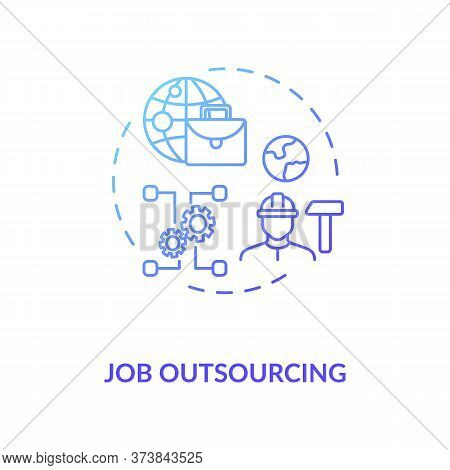 Job Outsourcing Blue Gradient Concept Icon. Freelance Position. Delegate Work To Foreign Employee. R