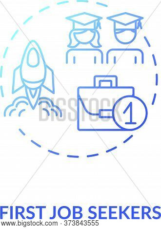 First Job Seekers Blue Gradient Concept Icon. Unemployment Problem For Young Specialist. Graduate Se