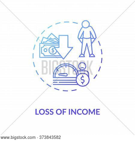 Loss Of Income Blue Gradient Concept Icon. Reduction In Budget. Financial Decline. Economic Crisis.
