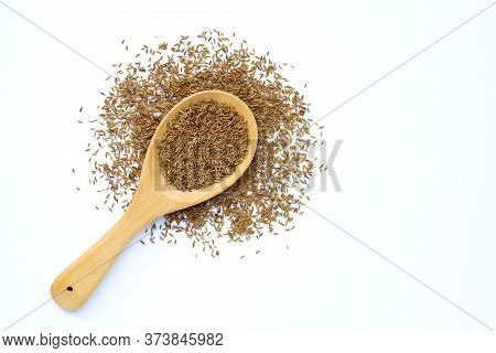 Cumin Or Caraway Seeds On White Background. Top View