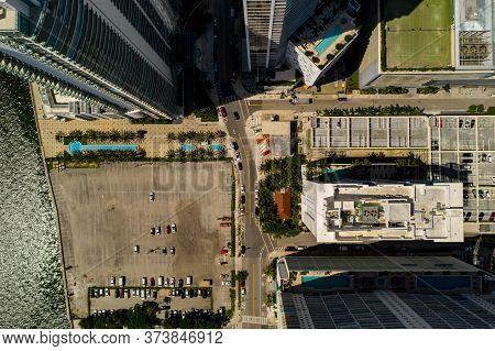 Aerial Photo Vacant Parking Lot On Brickell Bay Drive Miami Fl