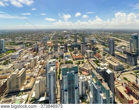 Downtown Miami Skyline Above The Buildings Stock Photo