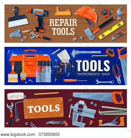Tools For Construction , Repair And Diy Works. Vector Power And Hand Tools For Home Renovation, Meas