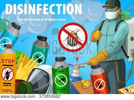 Disinfection Vector Poster. Insect Control Worker Spraying Insecticide With Pressure Sprayer Against