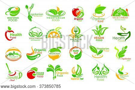 Vegetarian Food And Meals Vector Icons Set. Vegetarian Restaurant Or Cafe Symbols With Vegetables, F