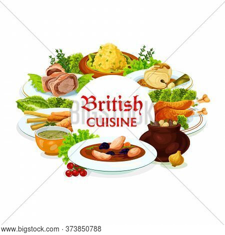 Britain Cuisine Vector Meals Kok-e-liki Scotch Soup, Cod With Sauce And Smoked Trout Plate, Beef Wel