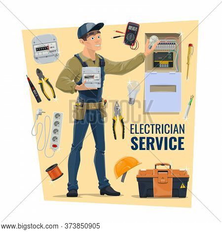 Electrician With Tools, Vector. Contractor, Electrical Service, Supplies Shop Banner. Serviceman In