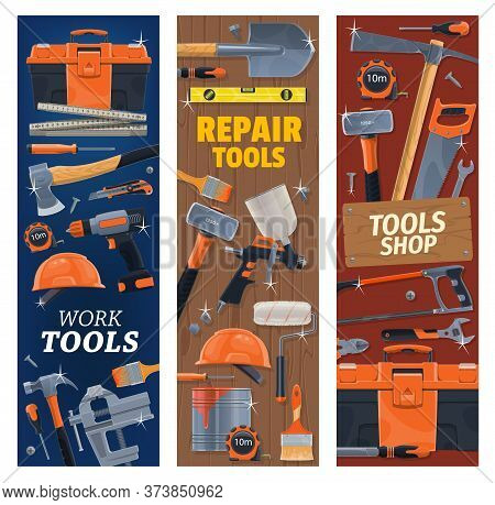 Construction, Repair, Diy Tools And Toolbox. Vector. Carpenter Rule And Measuring Tape, Pickaxe And