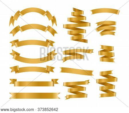 Shiny Foil Gold Ribbon Set. Metallic Background Banner. Congratulation Gradient Retro Flag, Tape For