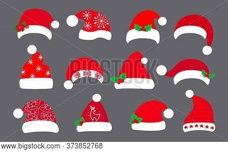 Christmas Santa Clause Hat Flat Set. Xmas Santa Red Hats, Decorated Holly, Patterns. New Year Cartoo