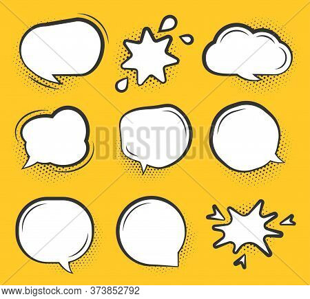 Comic Speech Bubble Set. Cartoon Empty Text Clouds With Halftone Dot Shadow. Different Shapes Blank