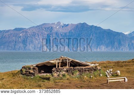 A Refuge - Harborage Made By Stones And Wood On The Coastline In Pond Inlet, Baffin Island, Canada.