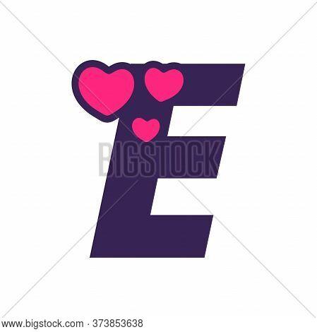 Simple And Cute Illustration Logo Design Initial E Love.