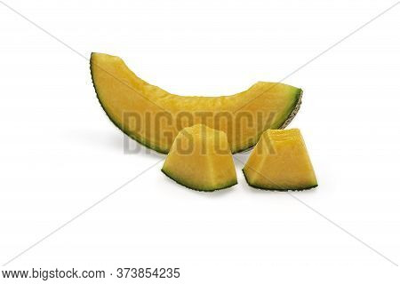 Organic Japanese Cantaloup Melon Slices On White Isolated Background With Clipping Path. Ripe Orange