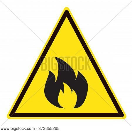 Fire Warning Sign On White Background. Flammable Sign. Yellow Flammable Symbol. Flat Style.