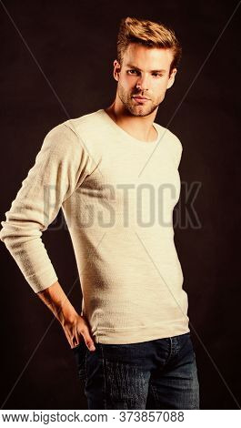 Feeling Casual And Comfortable. Fashion Concept. Discover Latest Styles Of Long Sleeve Shirt. Menswe
