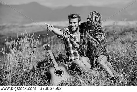 Enjoying Each Other. Summer Hike. Breathtaking Feelings. Hiking Romance. Couple Happy Cuddling Natur