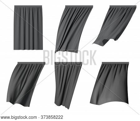 Black Fluttering Curtain Set, Vector Isolated Illustration