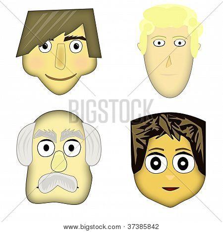Four cute cartoon characters