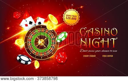 Internet Casino Landing Page. Roulette And Poker Playing Cards, Golden Coins, Grand Prize Or Jackpot