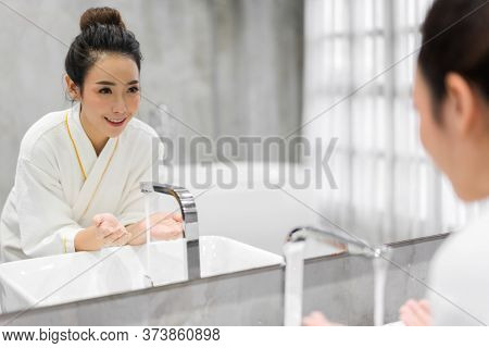 Portrait Of Smiling Of Cheerful Beautiful Pretty Asian Woman Clean Fresh Healthy White Skin Washing
