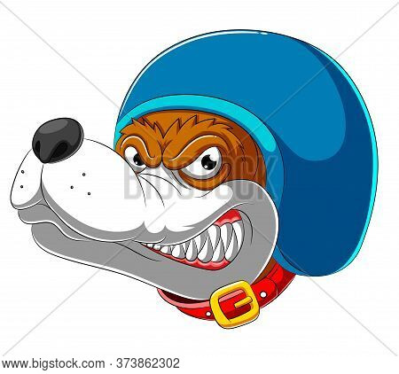 Angry Dog Wearing Helmet Of Racer Of Illustration