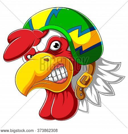 Angry Rooster Wearing Helmet Of Racer Of Illustration