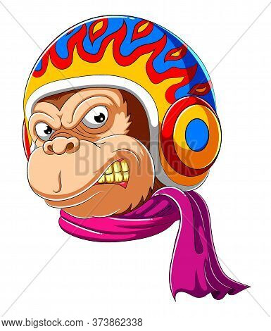 Monkey Wearing Scarf And Helmet Of Racer Of Illustration