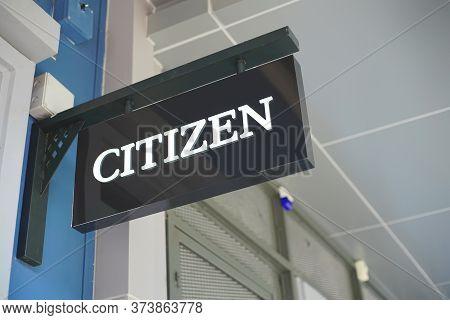 Samut Prakan, Thailand - June 13, 2020: Logo Of Citizen Watch In Central Village, Samut Prakan, Thai