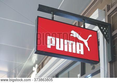 Samut Prakan, Thailand - June 13, 2020: Logo Of Puma In Central Village, Samut Prakan, Thailand. The