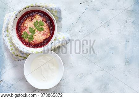 Delicious And Vibrant Kid-friendly Soup Made With Raw Beetroot, Carrot And Potatoes, Garnished With