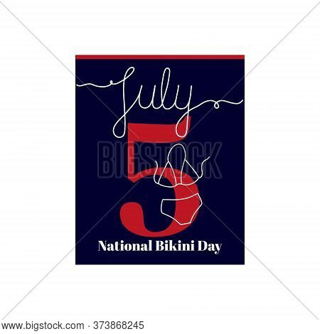 Calendar Sheet, Vector Illustration On The Theme Of National Bikini Day On June 5. Decorated With A
