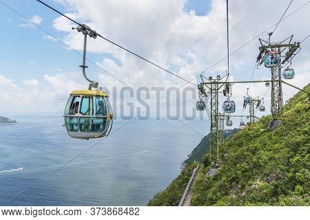 Hong Kong, China - July 24, 2019 : Cable Car In Ocean Park, Hongkong. Cable Car Carries Tourists Up