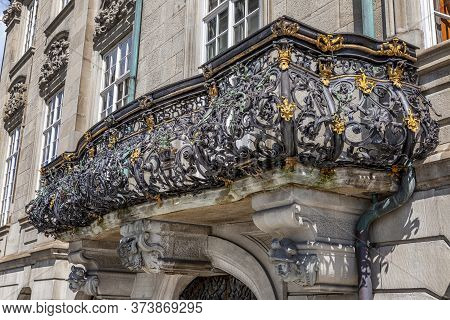 Beautiful Wrought Iron Balcony Ornament. Exterter. Close-up.