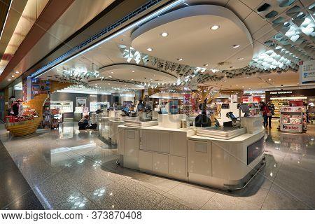 FRANKFURT AM MAIN, GERMANY - CIRCA JANUARY, 2020: checkout counters at Heinemann Duty Free in Frankfurt am Main Airport.