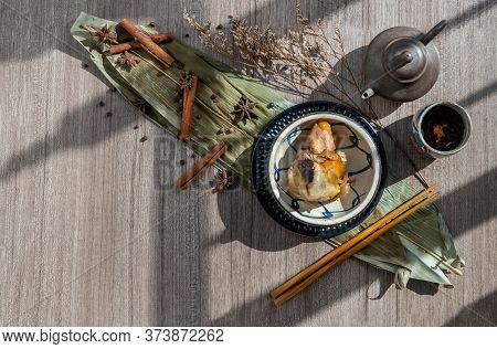 Chinese Rice Dumplings (zongzi) Shaped Pyramidal Wrapped By Leaves Ingredients On Bowl Chinese Style