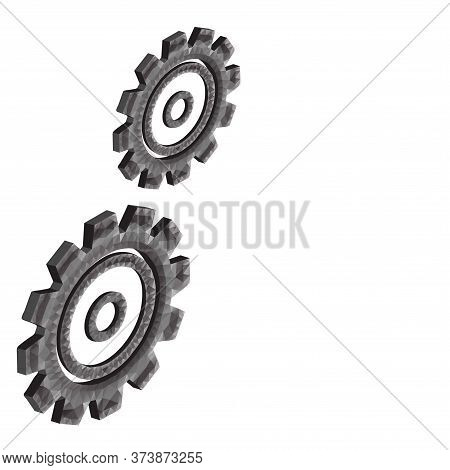 3d Gear Or Cog Icon With Triangles, Polygons, Dots And Lines On White Background. Polygonal Low Poly