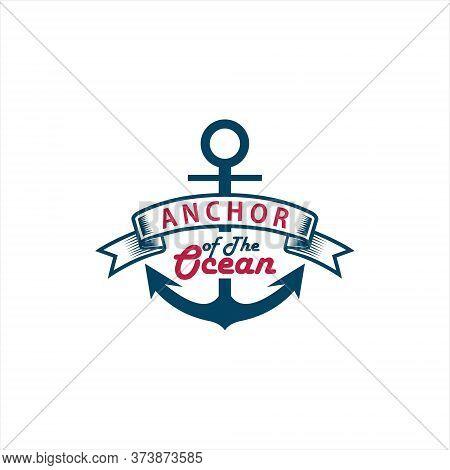 Anchor Logo Simple Blue Ribbon Badge Vector For Retro Nautical Design Template Idea Or Print Art Ins