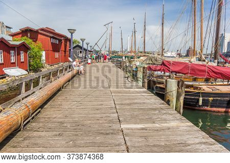 Flensburg, Germany - June 25, 2019: Wooden Jetty At The Museum Wharf In Flensburg, Germany