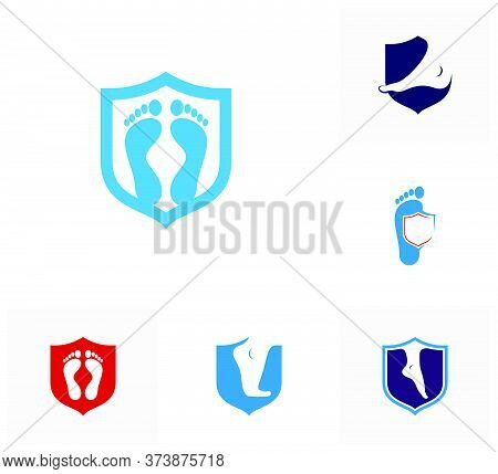 Set Of Shield Foot Logo Vector Template, Creative Of Foot Logo Design Concepts