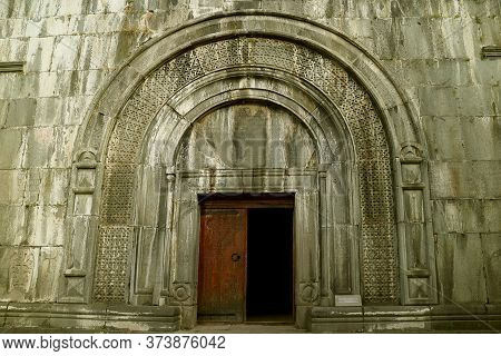 Gorgeous Doorway Of The Book Depository In Haghpat Medieval Monastery, Archaeological Place In Town